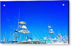 Harbor Happy Hour - Boat Art By Sharon Cummings Acrylic Print by Sharon Cummings