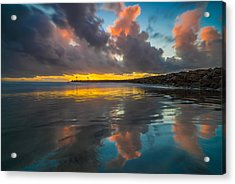 Harbor Jetty Reflections Acrylic Print by Larry Marshall