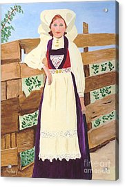 Acrylic Print featuring the painting Hardanger Girl by Rodney Campbell