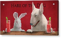 Hare Of The Dog...the Bull Terrier.. Acrylic Print by Will Bullas