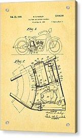 Harley Davidson Horseshoe Oil Tank Patent Art 1938 Acrylic Print by Ian Monk