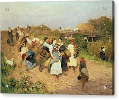 Harvesters On Their Way Home Acrylic Print by Lajos Deak Ebner