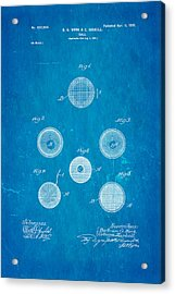 Haskell Wound Golf Ball Patent 1899 Blueprint Acrylic Print by Ian Monk