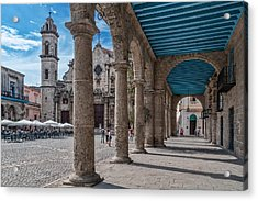 Havana Cathedral And Porches. Cuba Acrylic Print by Juan Carlos Ferro Duque