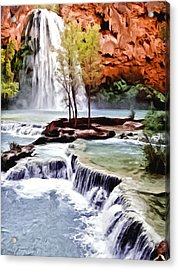 Havasau Falls Painting Acrylic Print by Bob and Nadine Johnston