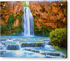 Havasu Falls Acrylic Print by David Wagner