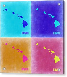 Hawaii Pop Art Map 2 Acrylic Print by Naxart Studio