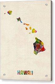 Hawaii Watercolor Map Acrylic Print by Michael Tompsett