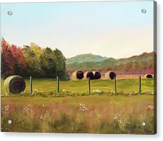 Hay Bales In The Cove Acrylic Print by Joan Swanson