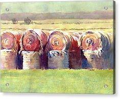 Hay Bales Acrylic Print by Kris Parins