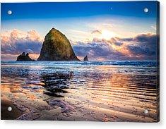 Haystack Rock Acrylic Print by Niels Nielsen