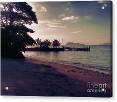 Hazey Samoan Sunset Acrylic Print by Karen Lewis