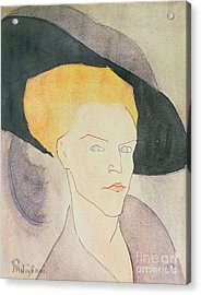 Head Of A Woman Wearing A Hat Acrylic Print by Amedeo Modigliani
