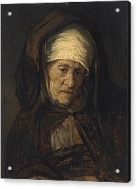 Head Of An Aged Woman Acrylic Print by Rembrandt