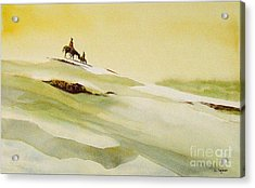 Snow Scenes In Watercolors Acrylic Print featuring the painting Heading Home From The Hunt by Charles Fennen