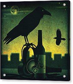 Headphone Raven Acrylic Print by Milton Thompson