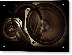Headphones Acrylic Print by Les Cunliffe