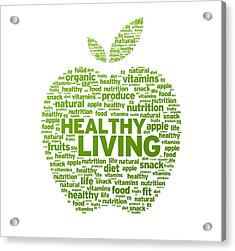 Healthy Living Apple Illustration Acrylic Print by Aged Pixel