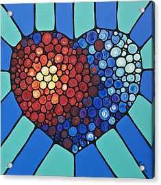 Heart Art - Love Conquers All 2  Acrylic Print by Sharon Cummings