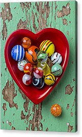Heart Dish With Marbles Acrylic Print by Garry Gay