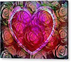 Heart Felt Roses Acrylic Print by Shirley Sirois