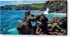 Heart In The Rock Acrylic Print by Cameron Howard