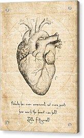 Heart Quote By Zelda Fitzgerald Acrylic Print by Taylan Soyturk