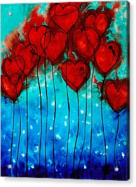 Hearts On Fire - Romantic Art By Sharon Cummings Acrylic Print by Sharon Cummings