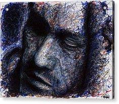 Heath Ledger - Blue Acrylic Print by Rachel Scott