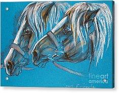 Heavy Horses Acrylic Print by Angel  Tarantella