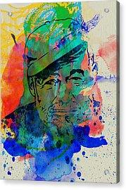 Hemingway Watercolor Acrylic Print by Naxart Studio