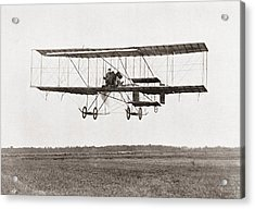 Henri Farman Winning The Grand Prix Of Two Thousand Pounds For The Longest Flight Of 112 Miles Acrylic Print by Bridgeman Images