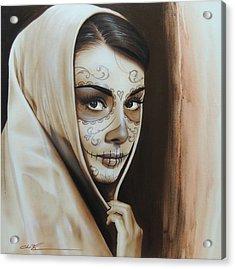 Audrey Hepburn - ' Hepburn De Los Muertos ' Acrylic Print by Christian Chapman Art