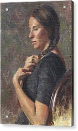 Her Long Braid Acrylic Print by Anna Rose Bain
