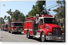 Here Come The Firetrucks Acrylic Print by Carolyn Ricks
