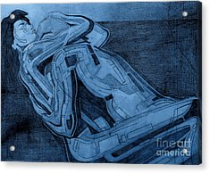 Heroes In Blue Drawing  Acrylic Print by David Hargreaves