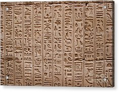 Hieroglyphs At The Temple Of Philae Acrylic Print by Stephen & Donna O'Meara