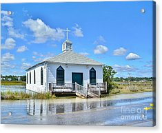 High Tide At Pawleys Island Church Acrylic Print by Kathy Baccari
