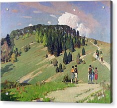 Hikers At Goodwood Downs Acrylic Print by George F. Henry