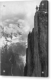 Hikers In The Alps Acrylic Print by Underwood Archives
