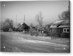 hoar frost covered street in small rural village of Forget Saskatchewan Canada Acrylic Print by Joe Fox