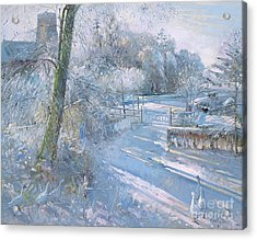 Hoar Frost Morning Acrylic Print by Timothy  Easton