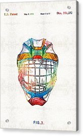 Hockey Art - Goalie Mask Patent - Sharon Cummings Acrylic Print by Sharon Cummings