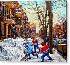 Hockey Art - Paintings Of Verdun- Montreal Street Scenes In Winter Acrylic Print by Carole Spandau