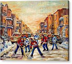 Hockey Daze Acrylic Print by Carole Spandau