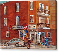 Hockey Game At Corner Store-montreal Depanneur-city Scene Painting-carole Spandau Acrylic Print by Carole Spandau