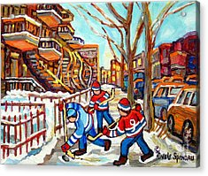 Hockey Game Near Montreal Staircases Winter Scenes Paintings Carole Spandau Acrylic Print by Carole Spandau