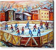 Hockey In The City Outdoor Hockey Rink Montreal Memories Winter City Scenes Painting Carole Spandau  Acrylic Print by Carole Spandau