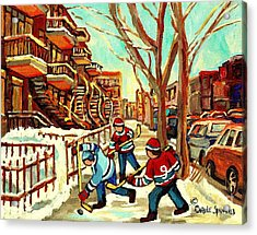 Hockey Paintings Verdun Streets And Staircases  Winter Scenes Montreal City Scene Specialist   Acrylic Print by Carole Spandau