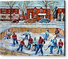 Hockey Rink At Van Horne Montreal Acrylic Print by Carole Spandau
